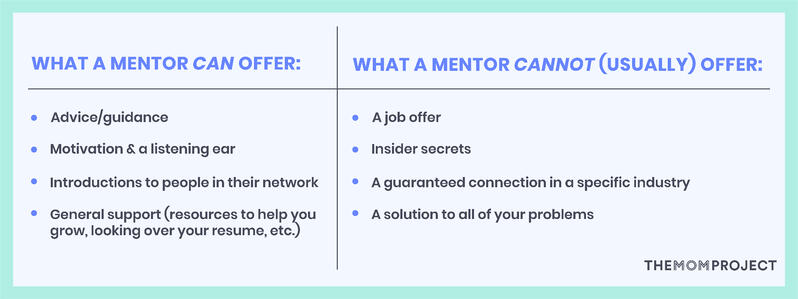 What a mentor can offer and cannot (usually) offer