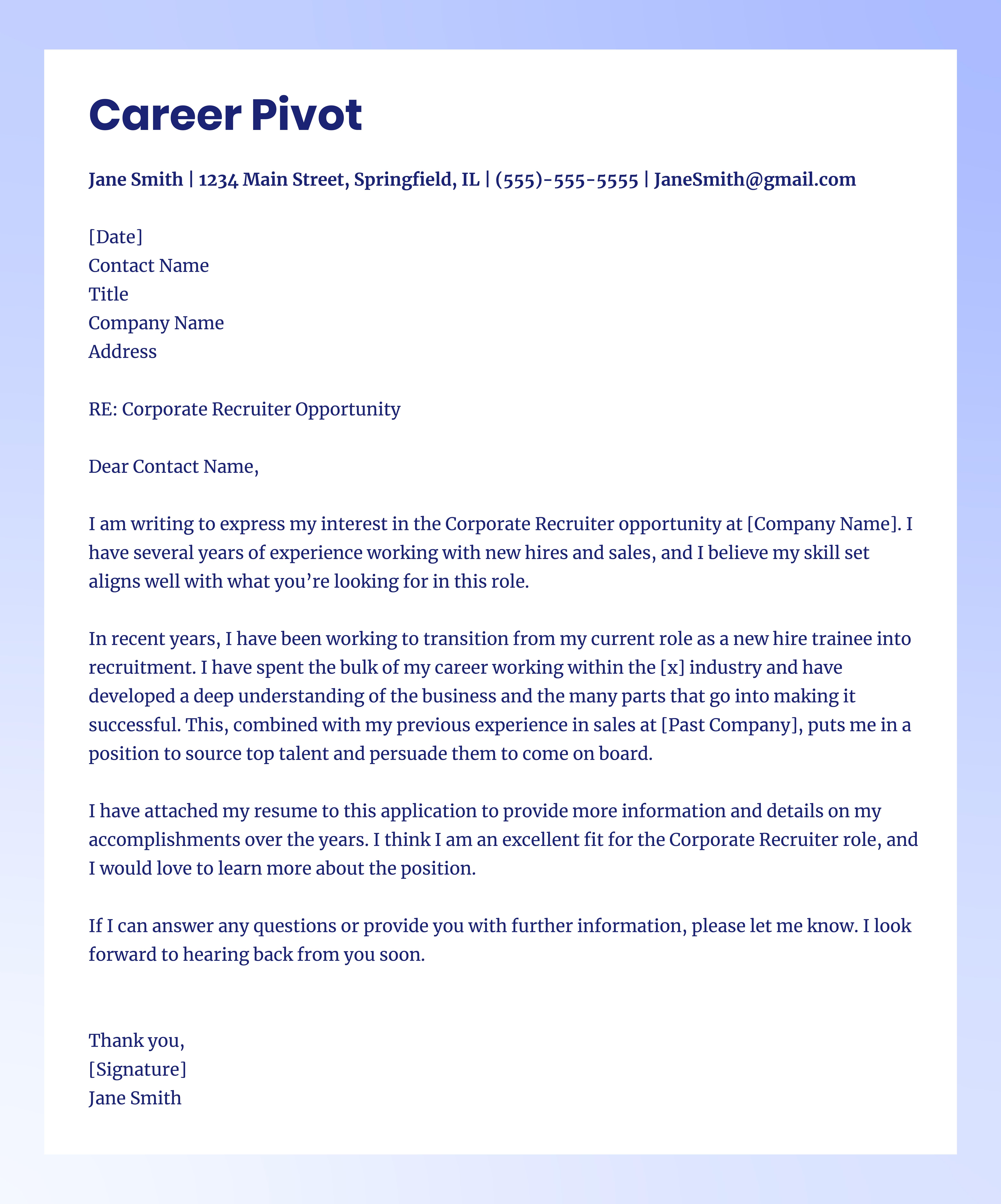 career pivot cover letter
