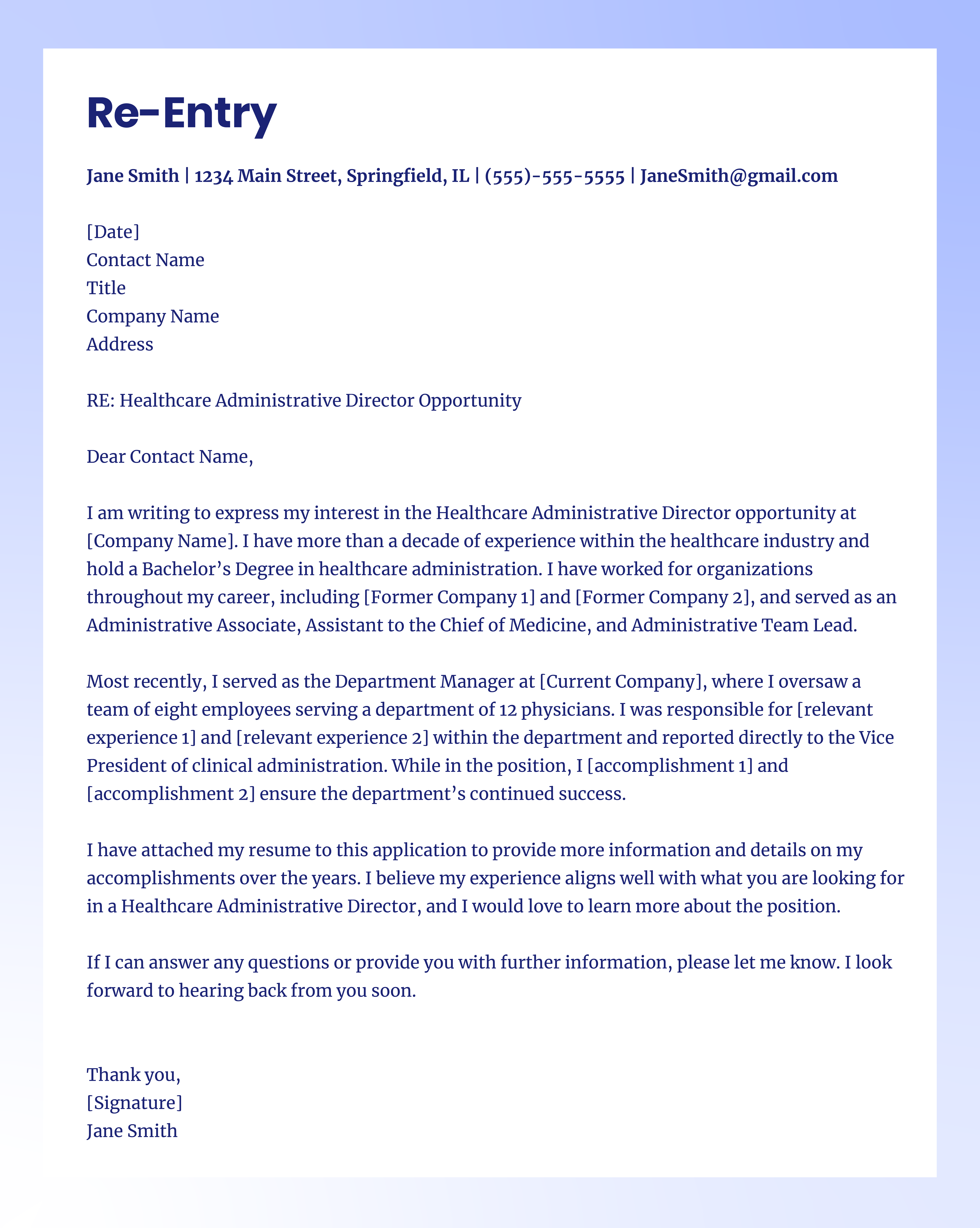 re-entry cover letter