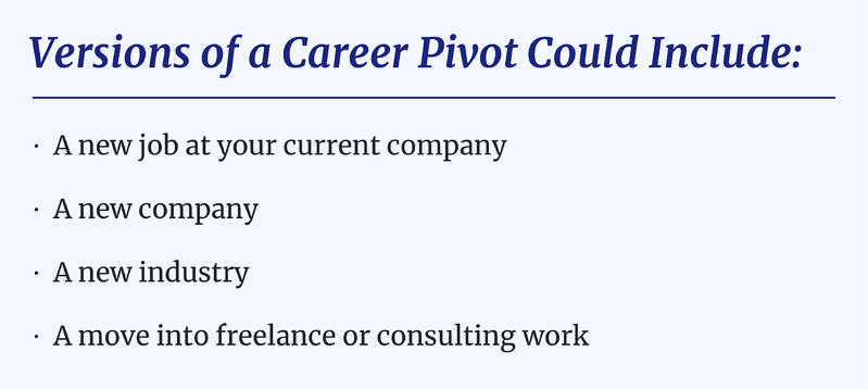 Versions of a Career Pivot Could Include a variety of points