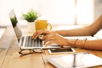 woman at a laptop