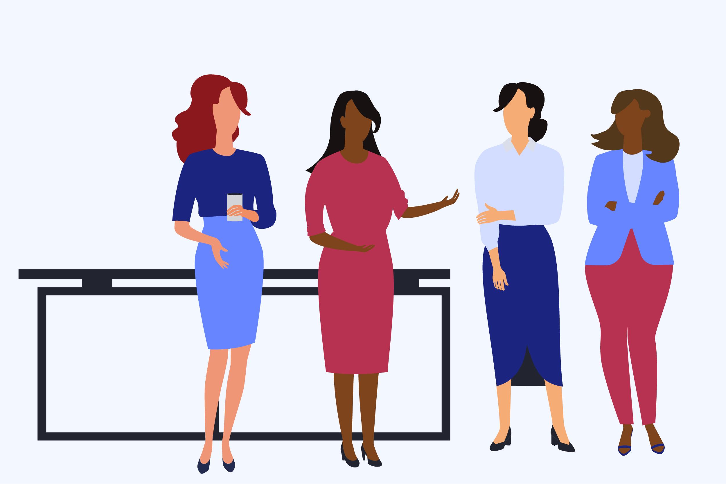 illustration of four women talking